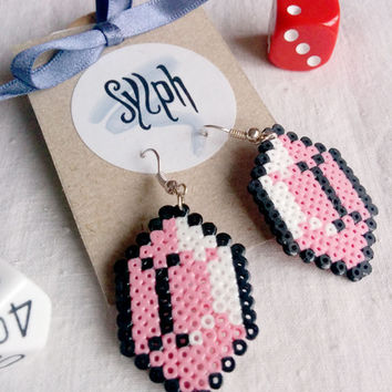 Light pink pixel jewelry, Zelda game inspired Gemtastic earrings for gamer girls made of Hama Mini Perler Beads