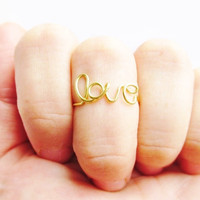 Wire Writing Love Above The Knuckle Ring In Gold or Silver