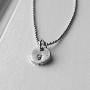 Letter g Necklace, Tiny Initial Necklace, Sample Sale, Monogram Necklace, Charm Necklace, Sterling Silver Jewelry, Hand Stamped Initial