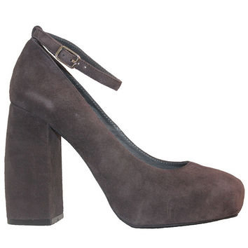 Jeffrey Campbell Phair - Grey Suede High Block Heel Pump