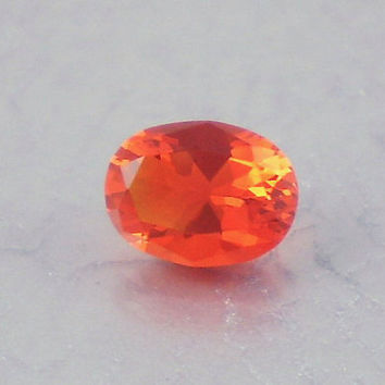 Fire Opal: 0.93ct Red Orange Oval Shape Gemstone, Loose Natural Hand Made Mexican Faceted Precious Gem, OOAK Cut Crystal Jewelry Supply O12