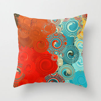 Decorative Throw Pillow Turquoise and Red Swirls - accent cushion home decor bedding - back to school dorm accessories