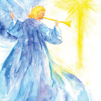Angel Star Watercolor Christmas Card Set