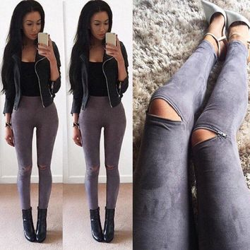 Winter Autumn Women Faux Suede Skinny Pants Sexy Zipped Legging Stretch Slim Ankle Trousers S M L XL