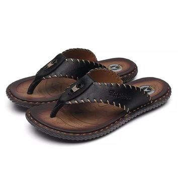 2017 brand Summer stry man Handmade genuine leather woven belt sandals men bling flip flops slides beach slippers