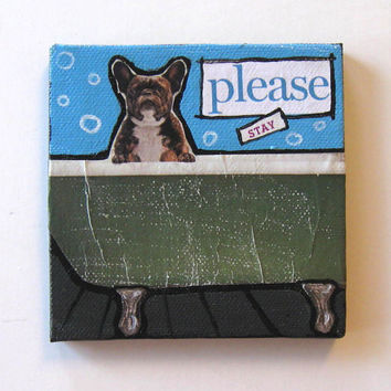 Dog Mixed Media Greeting Card, Animal Painting, Original Miniature acrylic, Home Decor
