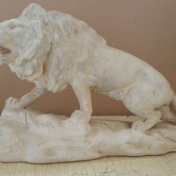 Roaring Lion Plaster Cast Statue Boston Plastic Art Company Art Deco Era Sculpture
