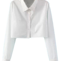 White Band Collar Long Sleeve Blouse