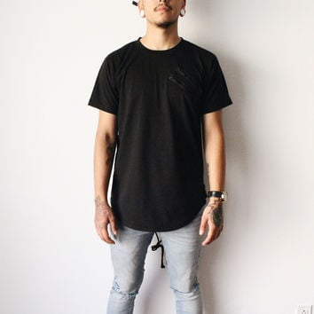 James Double Zipper Tshirt (Black)