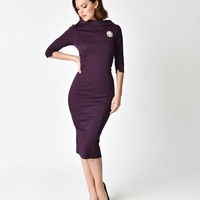 Unique Vintage 1960s Eggplant Stretch Sleeved Lucinda Wiggle Dress