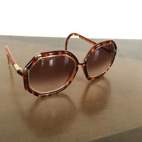 Vintage Ted Lapidus Womens Sunglasses 1970s Large Frames Tortoise Gold