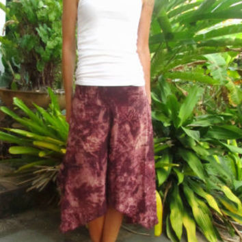 Plum Purple Cotton Culottes Trousers Stone Wash Aladdin Flower Harem Pants Boho | eBay