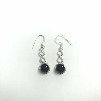 Black Onyx Infinity Sterling Silver Earrings