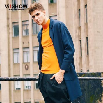 Viishow Mens Long Jackets Men Brand Turn-Down Collar Jacket Men Pea Coat Blazer Masculino For Men Jackets Jackets and Coats