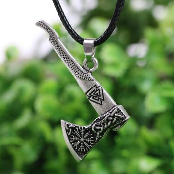 LANGHONG 1pcs Viking Necklace Nordic Viking Valknut and Vegvisir Compass Axe Amulet Pendant Necklace Talisman Jewelry