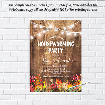 Rustic Fall, autumn , Fall housewarming party invitation, New house,  home sweet home, housewarming - card 1019