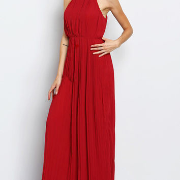 Wine Red Evening Halterneck Pleated Infinity Maxi Dress