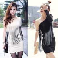 Women Peacock Tassels Long Sleeves One Shoulder Cocktail Party Mini Dress B98B 13121 One Size Vestidos = 1956865540