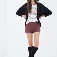 FOREVER 21 Cable Knit Dolman Cardigan Black