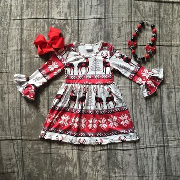 Christmas girls children clothes baby reindeer cotton Fall/Winter long sleeve ruffles milk silk dress boutique match accessories