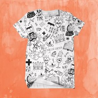 All Over Print Custom White T-Shirt : HLR0 : MerchNOW - Your Favorite Band Merch, Music and More