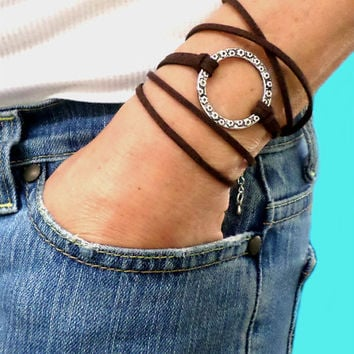 BOHO Infinity Wrap Bracelet - Adjustable Microfiber Faux Suede Bohemian Triple Wrap w/ Silver Textured Circle - Pick COLOR / SIZE, Usa