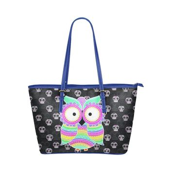 Water Resistant Small Leather Owl Sugar Skull Tote Bags (5 colors)