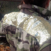 Camoflauge Sequin Flannel Shirt  READY to SHIP  Boho Hipster Sparkle Shirt- altered sequin Yoke - Mens Small Shirt upcycled