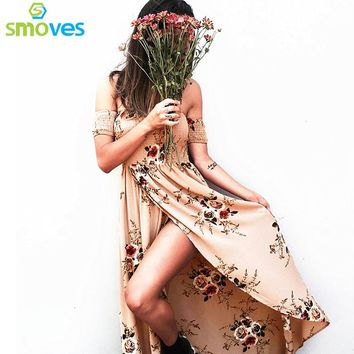 Smoves New Floral Print Elastic Bustier Asymetrical Boho Dress Ankle Length Maxi Dress Woman New Summer Beach Dresses Vestidos