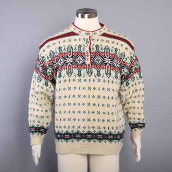 80s LL BEAN Nordic Ski SWEATER /  Christmas Wool Pullover, L