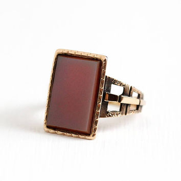 Antique Victorian 10k Rosy Yellow Gold Sardonyx Ring - Vintage 1890s Size 7 1/4 Banded White & red Rectangular Gem Statement Fine Jewelry