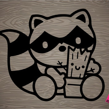cute rocket raccoon and groot vinyl decal sticker, guardians of the galaxy, free shipping!