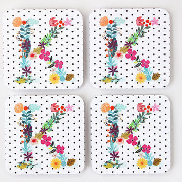 Custom Monogram Initial Paper Coasters Black and White Polka Dot Floral Initial Colorful Personalized Coasters Wedding Hostess Gift Set of 5