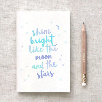 Midori Travelers Notebook Insert & Pencil Set, Shine Bright Like the Moon and the Stars, Stocking Stuffer - 3 Sizes