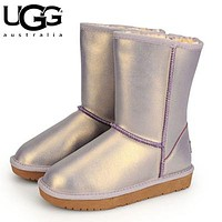 UGG hot seller of stylish, solid-colored mid-leg women's casual uggs with wool boots #8