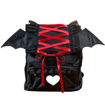 Lolita Gothic Angel Devil Wing Punk Nylon Backpack Cartoon Waterproof  Cosplay School Students Bag