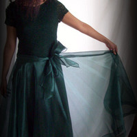Vintage J S Collections Canada Deep Green Organza, Lace and Taffeta Ball Gown