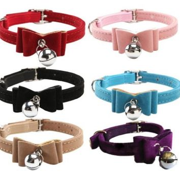 12 PCS /Pack Pet Supplies Designer Velvet Bow Tie Dog Cute Cheap Cat Collar with Safety Belt and Bell 6 Colors for puppy kitty