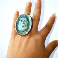 Wearable Art Ring - Polymer Clay Blue, Gray and Silver Art Portrait