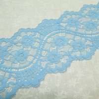 1 yard of 3 1/2 inch light blue galloon chantilly lace trim for bridal, baby, hair accessories, lingerie by MarlenesAttic - Item OT