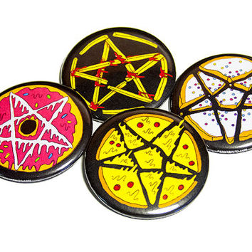 junk food pentagrams | 2.25 inch pin back button