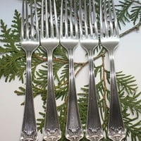 Whiting Pompeian Pattern Sterling Silver Forks Pat 1913 Set of 5