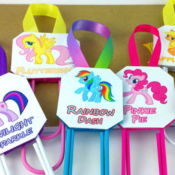 "7"" My Little Pony - Paperclip Bookmark - MLP Party Favor - Twilight Sparkle - Fluttershy - Rainbow Dash - Pinkie Pie - Rarity - Apple Jack -"