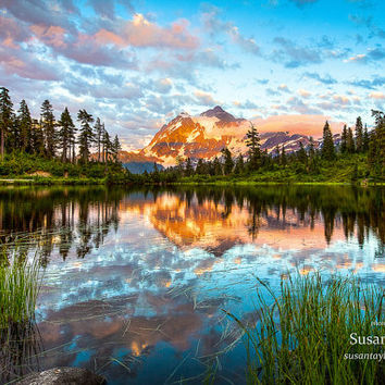 Washington Lake Landscape, Picture Lake Sunset Print, Mt Shuksan, Limited Edition Art, Wall Decor, Matted Print, Susan Taylor, Large Canvas