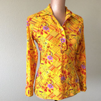 Retro Shirt 1970s Vintage Colorful Blouse Pointed Collar Flower Geometrics