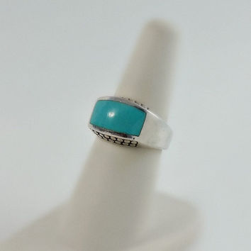 Sterling Turquoise Ring - Navajo Silver Ring - Turquoise Cabochon Ring Size 6.5