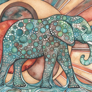 Sun Elephant 4 x 6 print of detailed watercolour artwork in rich surreal & psychedelic rust orange red turquoise blue green earth tones