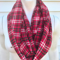 Women's-Handmade-Flannel-Plaid-Red-Christmas-Infinity-Scarf-Winter-Chunky-Gifts for Her-Accessories
