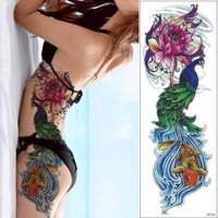 1 Piece 48cm Full Flower Arm Tattoo Sticker 69models Fish Peacock Lotus Pattern Temporary Body Art Water Transfer Tattoo Sticker