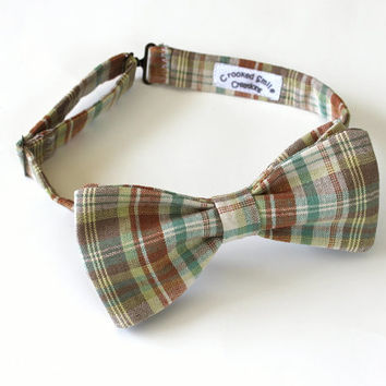 Brown Plaid Linen Men's Bow Tie, Pre-tied, Free Shipping